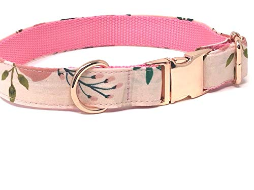Big Pup Pet Fashion Pretty Rose Gold and Pink Floral Dog Collar for Girls - Large