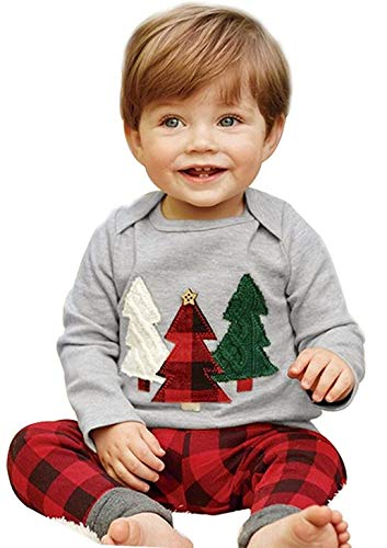 Kids Baby Boys Girls Christmas Tree T-Shirt Pullover+Plaid Print Pants Outfits Size 3-4Years/Tag120 -