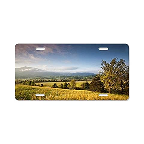 CafePress - Beautiful Glow Of Cades Cov - Aluminum License Plate, Front License Plate, Vanity Tag - Cades Cove Smokey Mountains