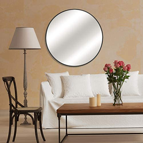 MORIGEM Round Mirror, 26 Large Wall Mirror, 0.7 Black Metal Frame Circle Mirror, Modern Premium Wall-Mounted Mirror for Bedroom, Bathroom, Living Room and More
