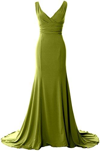 MACloth Women Long Mermaid V-Neck Jersey Wedding Bridesmaid Dress Formal Gown Verde Oliva