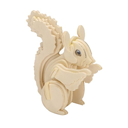 TOYMYTOY 3D Wooden Animal Puzzles Squirrel Jigsaw Puzzles 3D DIY Assembly Model Toy for Kids and Adults