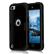 iPod touch5 case, iPod touch6 case, (TPU+ Silicone) Anti-slip Shockproof Dustproof slim and stylish protective case for Apple iPod touch 5 6th Generation (black)
