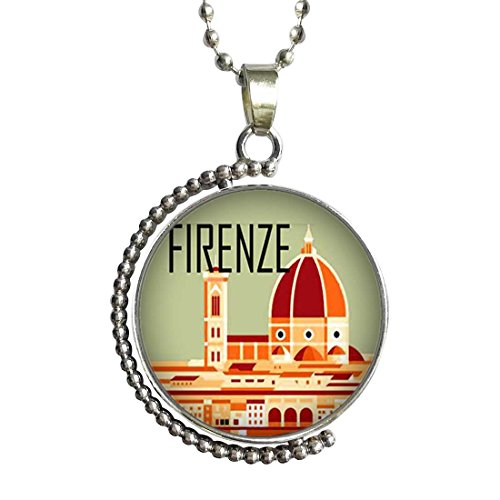 GiftJewelryShop Firenze Glass Cabochon Rotatable Lucky Pendant Necklace