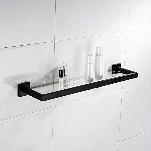 - TURS Bathroom Glass Shelf Rack SUS 304 Stainless Steel Contemporary Tempered Glass Shelves Wall Mount, Matte Black,Q7011BK-ZWJ