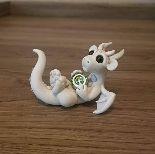 Multi Amazings White Dragon Lying Holding Swarovski Crystal Figure