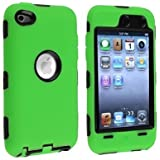 Bastex Black Hard / Green Skin Hybrid Case Cover compatible with Apple iPod Touch 4G, 4th Generation, 4th Gen 8GB / 32GB / 64GB