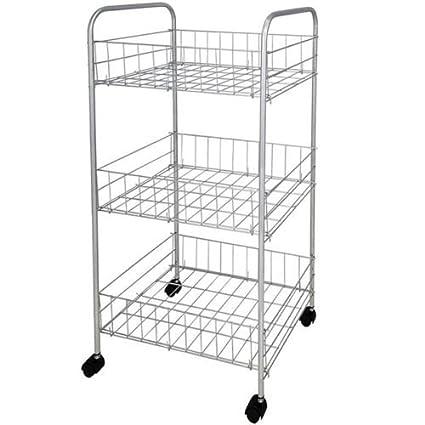 Alta calidad 3 Estantería (Carrito de almacenaje ruedas de cromo de cocina verduras frutas carro