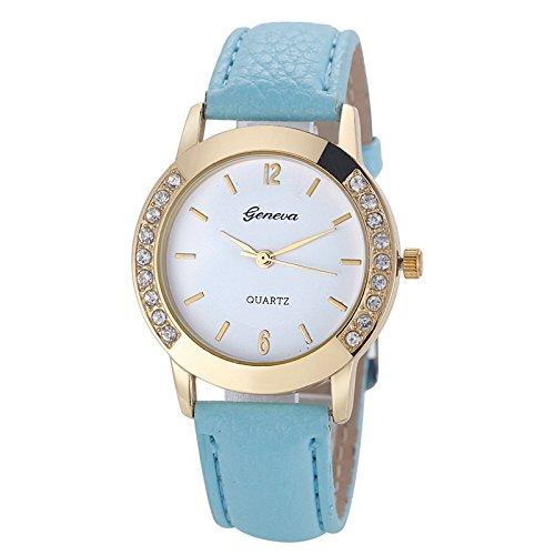 LiboboGeneva Fashion Women Diamond Analog Leather Quartz Wrist Watch Watches (C)