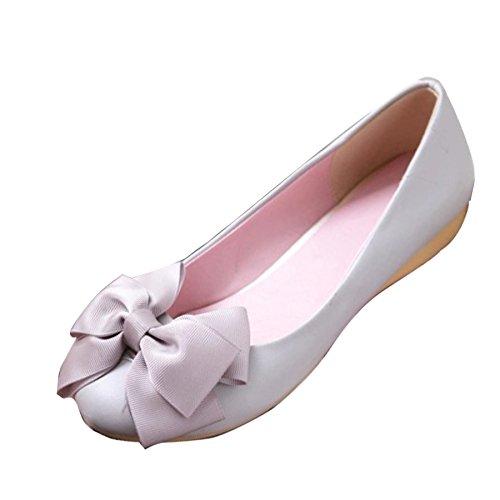 Ballerinas Bowknot Schuhe grau bequeme süße Gaorui Slipper lässige Damen Mädchen Keilabsatz on Slip aHqH7YXf