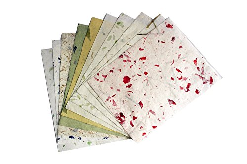 10 Sheets 8.5 x 12 inch Mulberry Paper Art Collage Watercolors Tissue Invitation Card Making Notebook Journal Memo Free Note Scrapbook Paper Cardstock Paint Stamping Natural Washi Paper Sheets(No01).