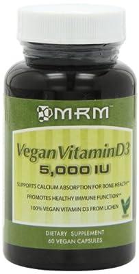MRM Vegan Vitamin D3 5000IU Veg Capsules, 60 Count
