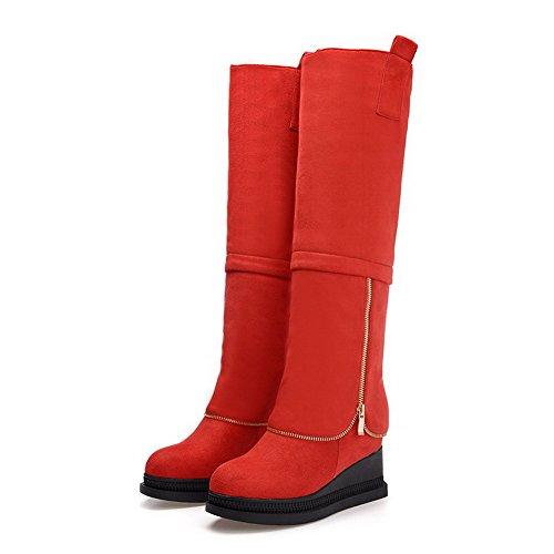 Cuña Sin Caña Rojo Botas Odomolor Alta Mujeres Metal Sólido Cordones Plataforma Con YFHqxEIqw
