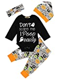 Newborn Infant Baby Boy Girl First Halloween Outfit Funny Letter Print Rompers and Pumpkin Pants with Hat Clothes 0-3 Months