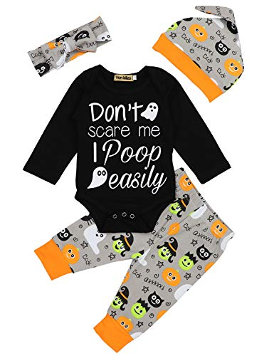 Newborn Infant Baby Boy Girl First Halloween Outfit Funny Letter Print Rompers and Pumpkin Pants with Hat Clothes 3-6 Months