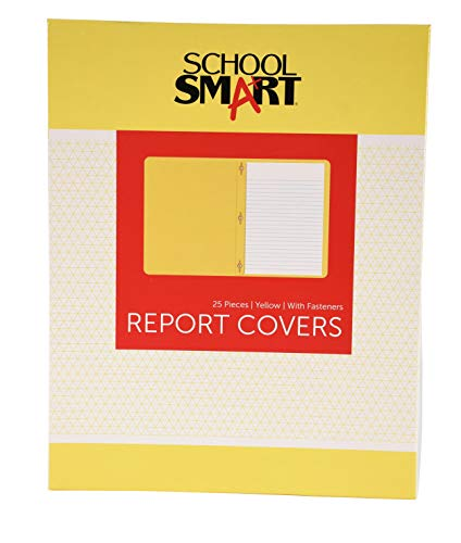 (School Smart 3 Hole Fastener Insert Rounded Corners Report Cover, 8-1/2 X 11 in, Yellow, Pack of 25)
