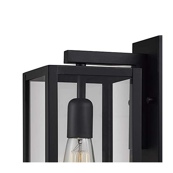 "Globe Electric 44176 Bowery 1-Light Outdoor Indoor Wall Sconce, Matte Black, Clear Glass Shade, 16"" - VERSATILE: with its classic black finish the Hurley wall sconce complements any d?cor making it the ideal piece for all your outdoor lighting needs CLEAR GLASS PANES: the clear glass panes of the Hurley Wall Sconce showcase your bulb of choice to create a beautiful light outside your home WEATHER RESISTANT: ideal for any outdoor environment - completely weather resistant and constructed of sturdy metal to withstand the elements - patio, outdoor-lights, outdoor-decor - 41OTLl9u5yL. SS570  -"