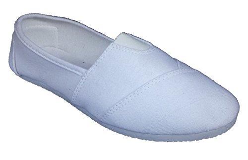 Elegant Women's White Plain Canvas Slip-on Flat Shoes, Espadrille Loafers 7 , M