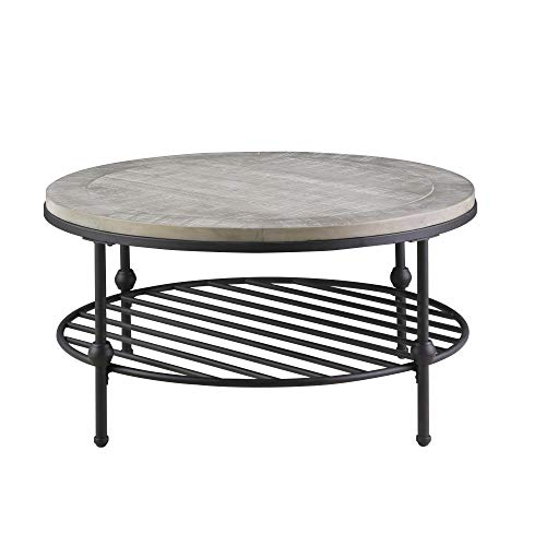 Willis Round Coffee Table in Antique Gray with Wood Top, Metal Base, And Open Storage Shelf, by Artum Hill Antique Round Coffee Table