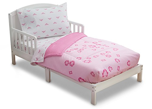 Delta Children Reversible Girls Toddler 4 Piece Bedding Set (Fitted Sheet, Flat Top Sheet w/ Elastic bottom, Fitted Comforter w/ Elastic bottom, Standard Pillowcase) Girls Princess | Gingham