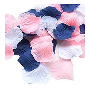ALLHEARTDESIRES 900 Pack Mixed Navy Blue Pink White Artificial Silk Rose Petal Flower Centerpieces Table Scatters Confetti First Birthday Nautical Wedding Baby Shower Decoration Favor 93