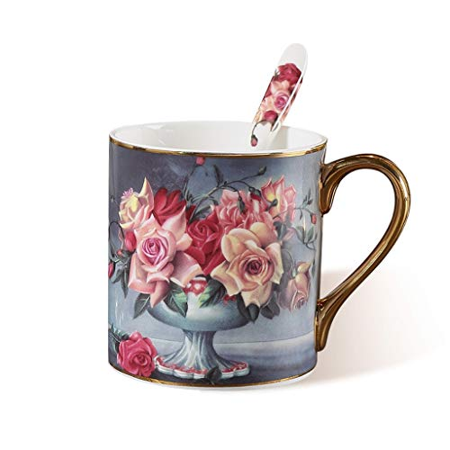 (Classical Rose Pattern Coffee Mug Cup with spoon, Creative Bone China Large Capacity Coffee Cup Drinking Cup, Suitable for Office, Home Breakfast Cup Afternoon Teacup)