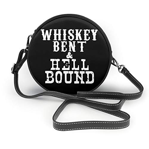 Whiskey Bent And Hellbound Ladies Round Leather Shoulder Bags Tote Beach Bags Purse