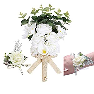 U'Artlines Bridal Wedding Bouquet with Boutonniere and Corsage Set,Bridesmaid Holding Flowers Romantic Handmade Artificial Roses Calla Lily Eucalyptus Pearl for Wedding Party Home Decoration 44