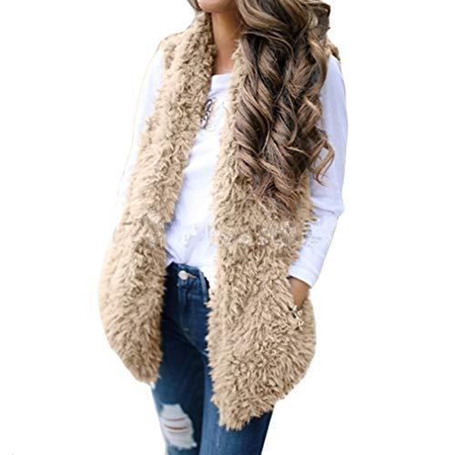 Atumn Hibote Casual Outwear Hiver Manches Solide Flannel Veste Gilet Mode Sans Femmes Poche Chaud Kaki rq0tRrx