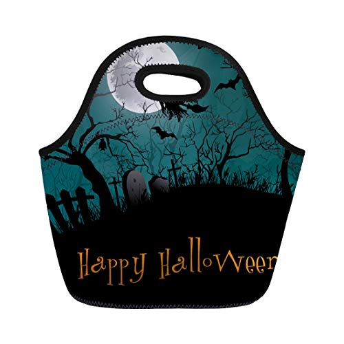 Semtomn Lunch Bags Silhouette Black Haunted Halloween Party Forest Cartoon Castle Graveyard Neoprene Lunch Bag Lunchbox Tote Bag Portable Picnic Bag Cooler Bag -