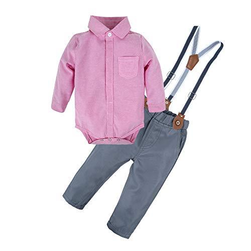 BIG ELEPHANT Baby Boys 2 Piece Shirt Suspender Pants Clothing Set Style C T13-70 3-6 Months