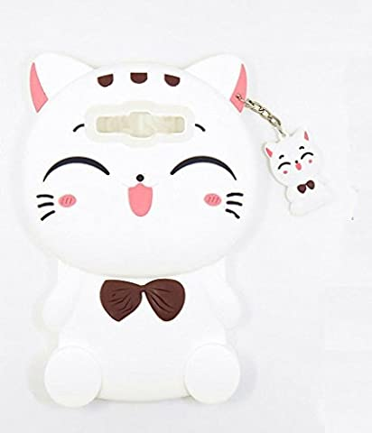Samsung Galaxy S3 Case, Maoerdo Cute 3D Cartoon White Plutus Cat Lucky Fortune Cat Kitty with Bow Tie Silicone Rubber Phone Case Cover for Samsung Galaxy (Galaxy S3 Phone Cases Samsung)