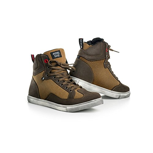 Shima SX-2 BROWN, Vintage Retro Italian Sneaker Urban City Motorbike Boots (41-46), Brown, Size:43 - Brown Italian Glove