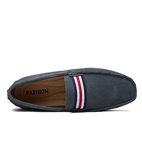 ZXCV Zapatos al aire libre Conducción de la primera capa de zapatos de los hombres de cuero de ocio de moda matte zapatos de frijol anti-terciopelo Gris
