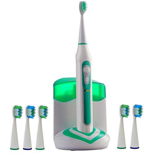 Xtech XHST-100 Oral Hygiene Ultra High Powered 40,000VPM, 5 Brushing Modes, Rechargeable Electric Ultrasonic Toothbrush with Charging Dock & Built-in UV Sanitizer, Includes 6 Brush Heads by Xtech