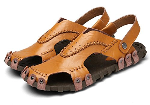 Las sandalias de los nuevos hombres de la manera de la personalidad del verano 2017 calzan las sandalias de cuero respirable de los hombres inferiores suaves de Baotou de los zapatos de la playa Brown