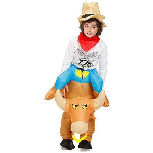 Decalare Dinosaur/Unicorn/Sumo/Bull Inflatable Costume Suit Halloween Cosplay Fantasy Costumes Kids (Kids-Bull)