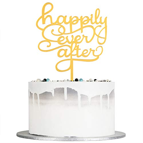 Happily Ever After Cake Topper (Auteby Happily Ever After Cake Topper - Acrylic Wedding, Engagement, Bridal Shower Party Cake Toppers)