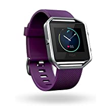 Fitbit Blaze Fitness Watch, Silver Large, Plum