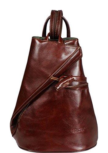 Schöne praktische Leder Brauner Lederrucksack Nilde Marrone