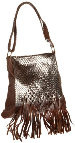 Motif 56 Women's Edna Leather Fringe Handbag, Dark Natural, One Size