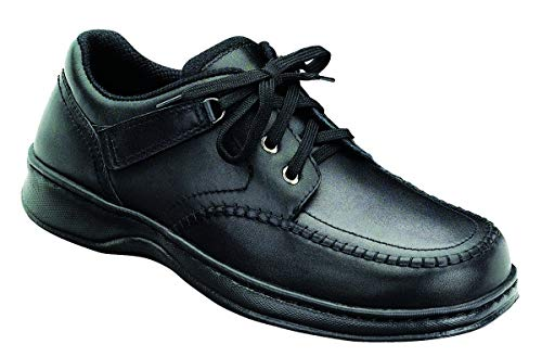 Orthofeet Proven Heel and Foot Pain Relief. Extended Widths. Orthopedic Bunions Diabetic Men's Leather Shoes, Jackson Square Black
