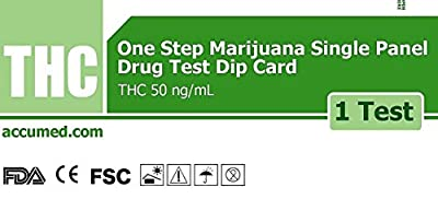 10 Pack AccuMed THC Test Marijuana Drug Test Kit - Single Panel Dip Card Weed Cannabis, 10 Tests (THC10-PP) by Accumed