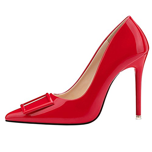 Mesdames Stiletto Talon Haut Closed Toe Court Chaussures Party Shoes Clubbing Mode Conseils Square Button Discothèque Sexy Pompes Red