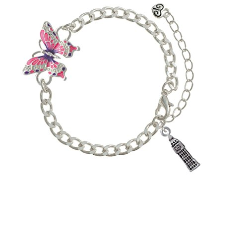 London's Big Ben Clock Tower Pink Butterfly Link Charm Bracelet