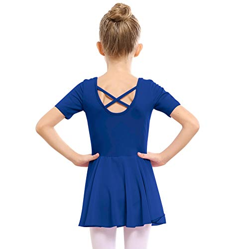STELLE Girls Ballet Short Sleeve Dress Leotard for Dance, Gymnastics (110cm, Royal - Royal Blue Cheer Dress
