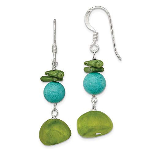 925 Sterling Silver Jade/green Coral/dyed Howlite Drop Dangle Chandelier Earrings Fine Jewelry Gifts For Women For Her