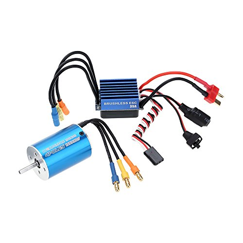Goolsky 2838 3600KV 4P Sensorless Brushless Motor & 35A Brushless ESC Electronic Speed Controller for 1/14 1/16 1/18 RC Car