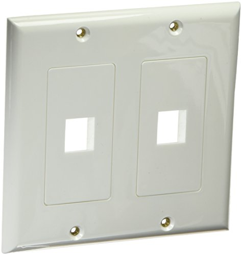 Monoprice 106829 2-Gang Wall Plate for Keystone 2 Hole, White
