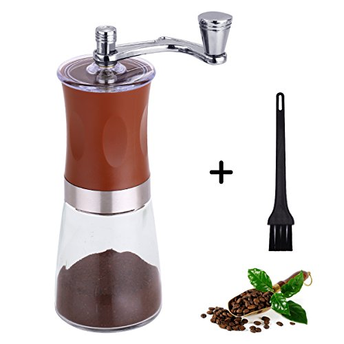 Manual Coffee Grinder, Adjustable Hand Grinder, Portable Coffee Ceramic Burr Mill Gift with a Cleaning Brush by Cosy Life